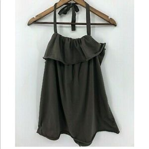 CAbi Style #546 Army Brown Green Halter Top Ruffle